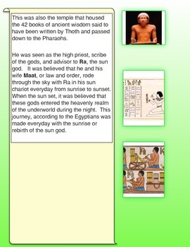 Thoth: the Egyptian God of Wisdom and Writing Common Core Activities