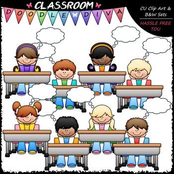 Thought Bubble Desk Kids Clip Art - Thinking Kids Clip Art