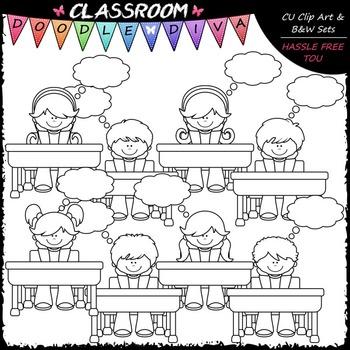 Thought Bubble Desk Kids Clip Art - Thinking Kids Clip Art & B&W Set