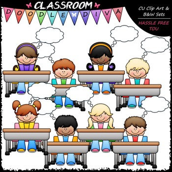 Thought Bubble Desk Kids Clip Art - Thinking Kids