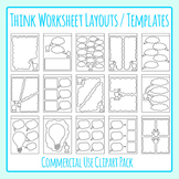 Thought Bubble / Planning / Thinking Worksheet Page Templates / Layouts Clip Art
