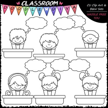 Thought Bubble Students - Clip Art & B&W Set