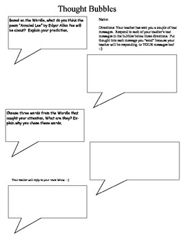 Thought Bubbles--Texting Thoughts