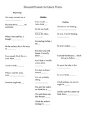 Thought Prompts for Quick Writes