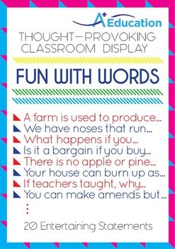 Thought-Provoking Classroom Display - FUN WITH WORDS