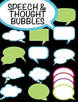 Speech Bubble / Thought bubble clip art - 66 text frames with stitch details