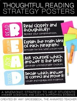 Thoughtful Reading Strategy - R.E.A.D. Strategy Poster by Amy ...