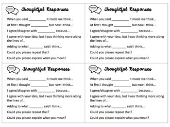 Thoughtful Response Sentence Starter Cue Cards