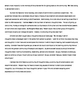 Thoughtfulness speech - National Honor Society