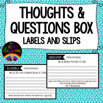 Thoughts and Questions Box - Labels and Slips