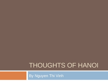 Thoughts of Hanoi