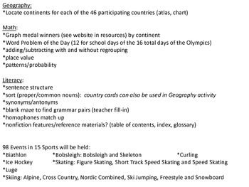 Thoughts of Sochi:  Winter Olympic Geography, Math, and Literacy Activities