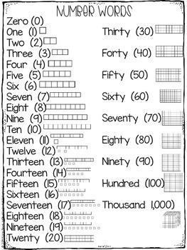 Thousand Chart/Number Word FREEBIE