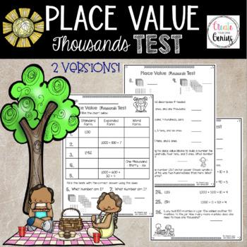 Thousands Place Value Test