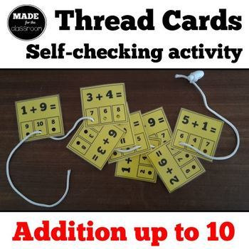 Thread cards, self-checking activity - Addition up to 10
