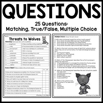 Threats to Wolves Informational Text Reading Comprehension Worksheet