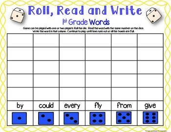 Three 1st Grade Sight Word Dice Games