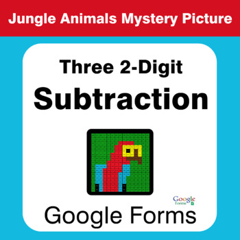 Three 2-Digit Subtraction - Animals Mystery Picture - Google Forms