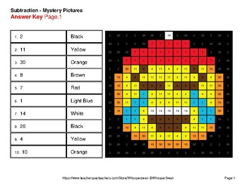 Three 2-Digit Subtraction - Christmas EMOJI Color-By-Number Mystery Pictures
