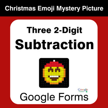 Three 2-Digit Subtraction - Christmas EMOJI Mystery Picture - Google Forms