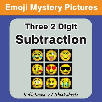 Three 2-Digit Subtraction Color-By-Number EMOJI Mystery Pictures