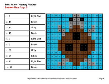 Three 2-Digit Subtraction - Color-By-Number Mystery Pictures