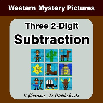 Three 2-Digit Subtraction - Color-By-Number Math Mystery Pictures