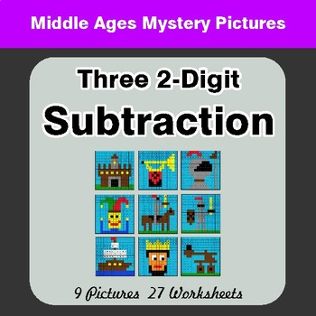 Three 2-Digit Subtraction - Color By Number Math Mystery Pictures