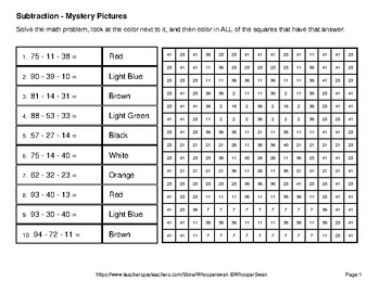 Three 2-Digit Subtraction - Color-By-Number Mystery Pictures - Pets Theme