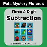 Three 2-Digit Subtraction - Color-By-Number Mystery Pictur