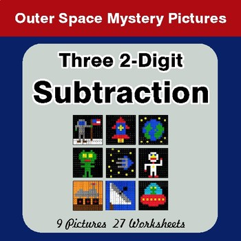 Three 2-Digit Subtraction - Color-By-Number Math Mystery Pictures - Space theme