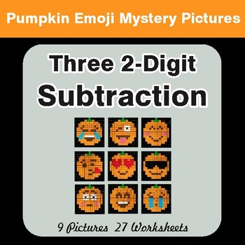 Three 2-Digit Subtraction - Color-By-Number PUMPKIN EMOJI Math Mystery Pictures