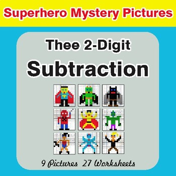 Three 2-Digit Subtraction - Color-By-Number Superhero Math Mystery Pictures