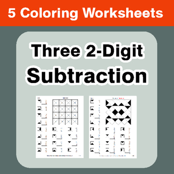 Three 2-Digit Subtraction - Coloring Worksheets