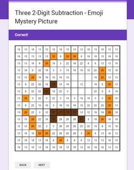 Three 2-Digit Subtraction - EMOJI Mystery Picture - Google Forms