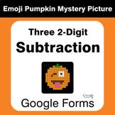 Three 2-Digit Subtraction - EMOJI PUMPKIN Mystery Picture
