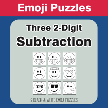 Three 2-Digit Subtraction - Emoji Picture Puzzles