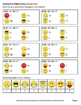 Three 2-Digit Subtraction Emoji Quiz