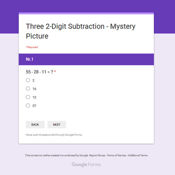 Three 2-Digit Subtraction - Monster Mystery Picture - Google Forms