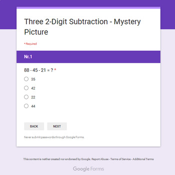 Three 2-Digit Subtraction - Superhero Mystery Picture - Google Forms
