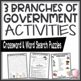 Three 3 Branches of Government Activities Crossword Puzzle