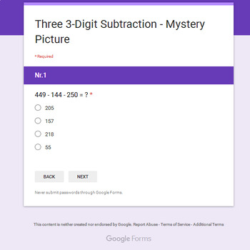 Three 3-Digit Subtraction - Animals Mystery Picture - Google Forms