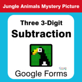 Three 3-Digit Subtraction - Animals Mystery Picture - Goog