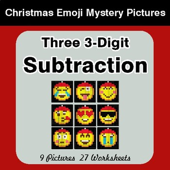 Three 3-Digit Subtraction - Christmas EMOJI Color-By-Number Mystery Pictures