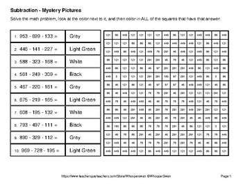 Three 3-Digit Subtraction - Color-By-Number Mystery Pictures