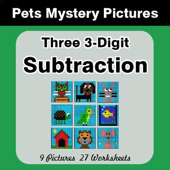 Three 3-Digit Subtraction - Color-By-Number Math Mystery Pictures - Pets Theme