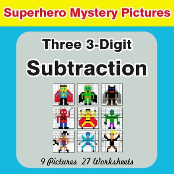 Three 3-Digit Subtraction - Color-By-Number Superhero Mystery Pictures