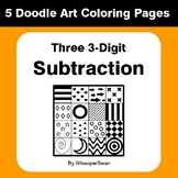 Three 3-Digit Subtraction - Coloring Pages | Doodle Art Math