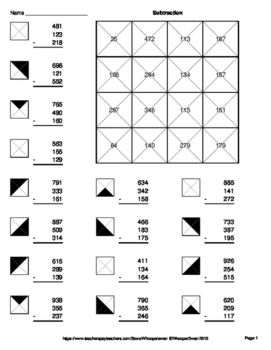 Three 3-Digit Subtraction - Coloring Worksheets