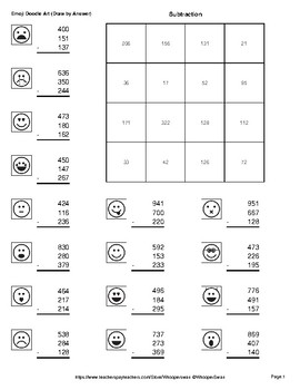Three 3 Digit Subtraction Emoji Math Art Draw By Number Coloring Pages